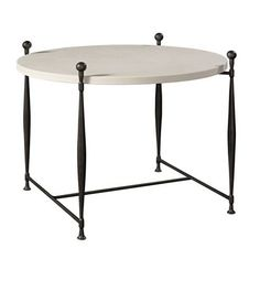 """Ionia Side Table with Round Stone Top 26.5""""h x 34""""w x 34""""d from the Hartwood collection by Hickory Chair Furniture Co."""