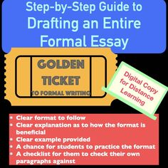 I have had students graduate and write me to THANK ME for teaching them this formula for writing. This digital product is the golden nugget to teaching formal writing. It includes lessons that give a sentence-by-sentence explanation of the role each sentence plays within the essay's introduction, body paragraphs, and conclusion. buy college essay, buy custom essay, buy essays for college, where can i buy an essay, buy essays online for college