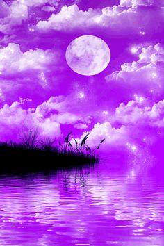 Moon in a purple sky Purple Sky, Purple Love, All Things Purple, Shades Of Purple, Purple Stuff, Soft Purple, Bright Purple, Pink, Stars Night