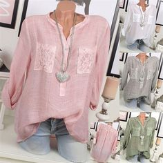 Casual Lace Patchwork Long Sleeve V-neck Blouses For Women Cheap - NewChic