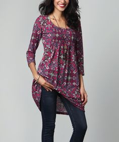 Look what I found on #zulily! Magenta Floral Pin-Tuck Empire-Waist Tunic Dress #zulilyfinds