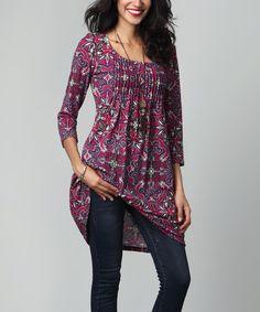 Look at this #zulilyfind! Magenta Floral Pin-Tuck Empire-Waist Tunic Dress #zulilyfinds