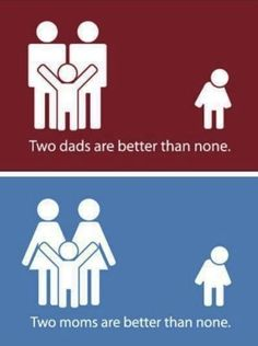 <3 One mom or one dad is also better than none. People need to let go of the idea that kids do good with only a mom and a dad, together. Families are changing. Love and commitment is all that is required. <3