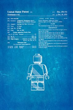 Lego patent blueprint art of a lego figurine man person no2 christiansen lego figure patent art 1979 blueprint poster by ian monk all posters are professionally printed packaged and shipped within 3 4 business malvernweather Choice Image