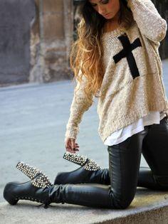 Studded Heels & Cross Sweater