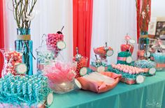 Coral & Aqua Candy as part of the candy buffet by SKO Designs at So Chic Events 9th Annual Bridal Expo at The Imperial Ballroom in Mendon, Mass. Photo courtesy of Shoreshotz Weddings.