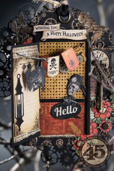Learn how to make this Steampunk Spells Halloween tag with a working door. Step-by-step tutorial at bottom of blog by Olga  #graphic45 #tutorials