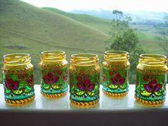 Mason Jars, Mugs, Tableware, Glass, Macrame, Artworks, Mandala, Diy, Painting