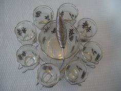 Vintage Mid Century Libby Frosted Silver Leaf Drink Set With Carrying Caddy, Ice Bucket and Glasses, Barware by GandTVintage on Etsy