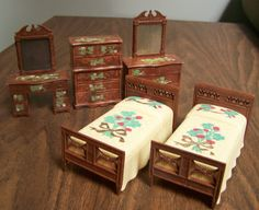Vintage Renwal Dollhouse Furniture 1950s 5 piece Bedroom Set – B-81 Twin Beds Ivory Stenciled Floral, 3 dressers (2 vanity, 1 highboy) by RetrowareExchange on Etsy