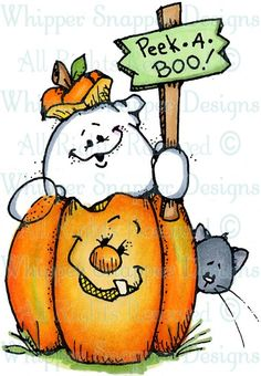 Peek-a-Boo Ghost – Halloween Photographs – Halloween – Rubber Stamps – Easy Crafts Halloween Wood Crafts, Halloween Rocks, Halloween Painting, Halloween Drawings, Halloween Images, Halloween Ghosts, Cute Halloween, Halloween Cards, Holidays Halloween