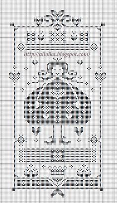 freebie cross stitch modern folk sampler-like girl with hearts St Valentine