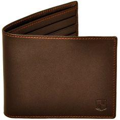 HUCKLE & HARPER - Brown lambskin billfold wallet ($220) ❤ liked on Polyvore featuring men's fashion, men's bags, men's wallets, men, mens wallets, mens brown leather wallet and mens billfolds