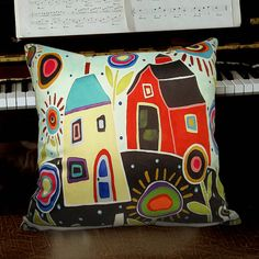 VELVET PILLOW COVER House Barn 16x16 Folk Art by KarlaGerardArt, $21.00 soft velvet pillow covers featuring my art