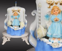 Baptism candle Christening ceremony for boy Small by MonnaCandles