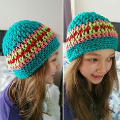 This is the hat that my daughter finished 2 days ago.  The colours are amazing.  It just pops.  #crochet #yarn #wool #handmade #handcrafts #hat #beanie #diy #allcrochet #simplycrochet #loveit #love #fun #hooked #slouchybeanie #turquoise #green #coral #red #girly #crochetaddict #accessories #instacrochet #instagood #instalove #instafun #instalike #wailingart by wailing.art