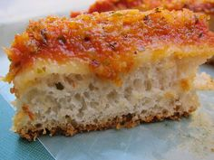 """Lo Sfincione"" - The Original Sicilian Pizza. Deep dish spongy pizza...yum"