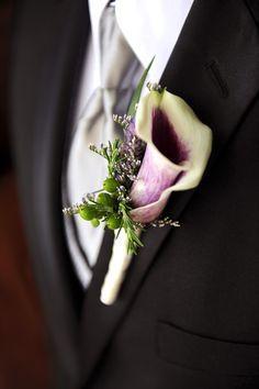 picasso calla lily and limonium boutonniere - Google Search