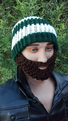 3f283081ef3 Green and White Beard Beanie w  Detachable by HolyNoggins on Etsy