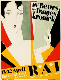1928 Art Deco illustration by Jan Wijga for Amsterdam's annual women's homemaking fair.