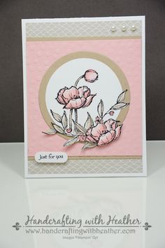 Stampin Up Simply Sketched, SU Sweet Sorbet dsp, blushing bride & sahara sand card stock Scrapbooking, Scrapbook Cards, Poppy Cards, Flower Cards, Flower Stamp, Cards For Friends, Tampons, Pretty Cards, Sympathy Cards