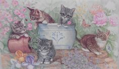 Kittens/Cats In The Garden ~ Polypropylene Vinyl Water-Proof Placemats ~ Keller Charles Designs - Artist Rudy Nappi Made in ITALY Vintage