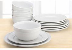 Amelia 12 Piece Solid Color Dinnerware Set Arctic White Home Kitchen Stoneware #Mainstay