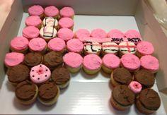Pink John Deer cupcake cake needs to be green and yellow