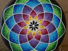 Mandala Painting Pointillism Mandala on Wood Hand by KailasCanvas