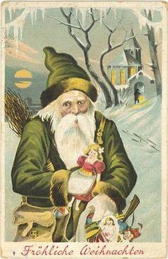 Antique St.Nicholas / Father Christmas postcard. A German postcard.