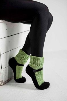 Knit Slipper Socks Adult Mary Jane Slippers Sox Green House Slippers Womens Slippers Home Slippers Black House Shoes Gifts Under 40 – Pantoufles au Crochet Knitted Slippers, Slipper Socks, Crochet Slippers, Knit Or Crochet, Crochet Mittens, Knitting Socks, Hand Knitting, Knitting Patterns, Knit Socks