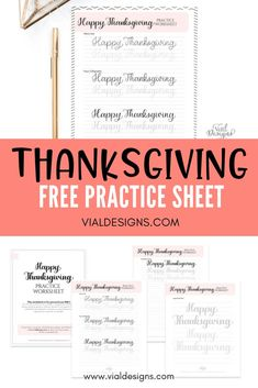 Free Happy Thanksgiving Lettering Practice Sheet by Vial Designs Hand Lettering For Beginners, Calligraphy For Beginners, Learn Calligraphy, Modern Calligraphy Tutorial, Hand Lettering Tutorial, Hand Lettering Alphabet, Brush Lettering, Lettering Styles, Thanksgiving Worksheets