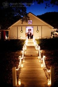 Night reception outdoors in May- need lighting ideas : wedding candles outdoor diy Durham Ranch Wedding Reception Landscape Lighting, Outdoor Lighting, Lighting Ideas, Wedding Lighting, Wedding Reception Entrance, Wedding Receptions, Wedding Walkway, Wedding Ceremony, Reception Ideas