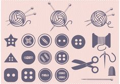 Free vector Set of Ball of Yarn and Sewing Vectors #23585