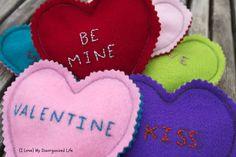 Embroidered Valentine Hearts