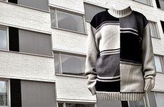 1960s apartment house in Turku and a matching pullover with black, white and grey.   Sulaudun kerrostaloon; Neule Musta Valkoinen Harmaa Julkisivu Kauppiaskatu 2, Turku