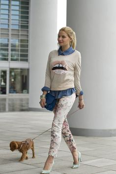 Those Sequin lips, the floral pants, the Cute lil dog... AAh... beautiful layering!
