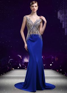 Mermaid #Evening #Dress Beading Embroideries Chapel Train Party Dress