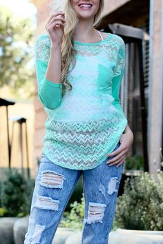 See-Through Lace Casual Top