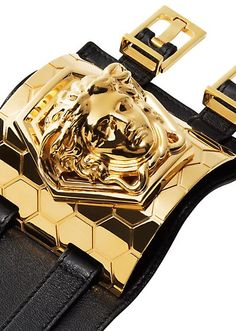 Versace by Haas Brothers Black Leather Wrist Cuff with Goldtone Medusa 539db5d55bac9
