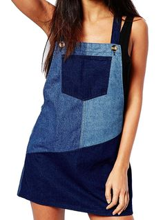 Boohoo Patchwork Denim Pinafore Dress - inspiration for sewing Cleo Denim Pinafore, Pinafore Dress, Recycle Jeans, Diy Jeans, Patchwork Jeans, Patchwork Dress, Sewing Clothes, Diy Clothes, Jean Diy