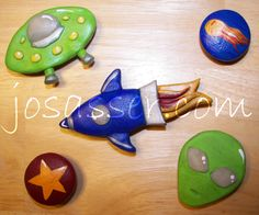 polymer clay magnets - space