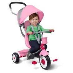 The 4-in-1 Stroll 'N Trike ® is the ultimate grow-with-me trike. It offers 4 ways to ride, to accommodate ages 9 months to 5 years: it easily converts from an infant trike to a steering trike, learn-to-ride-trike, and finally a classic trike. The 4-in-1 Trike features safety features for the youngest riders, including removable wrap around tray with cup holder, and a 3-point harness. The trike has quiet ride tires and pedals that become footrests for early stages. The heigh...