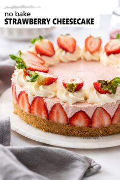 An easy No Bake Strawberry Cheesecake bursting thats creamy and bursting with strawberry flavour you can use fresh or frozen strawberries to make this crowd pleasing strawberry dessert. Easy Gluten Free Desserts, Easy Desserts, Delicious Desserts, Health Desserts, Chocolate Cheesecake Recipes, Cheesecake Desserts, Frozen Cheesecake, Baked Cheesecake Recipe, No Bake Cheesecake