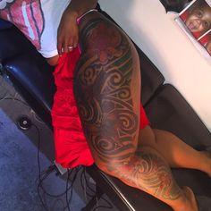 leg sleeve tattoo .. that is so pretty