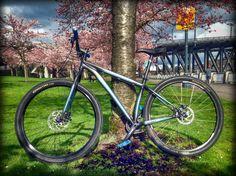 #cerakote custom mix of Graphite Black and Blue Titanium on this bicycle in Portland, Oregon.