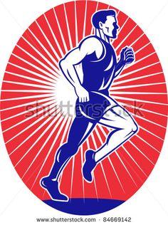 vector illustration of a illustration of a Marathon road runner jogger fitness training viewed from side set inside oval with sunburst in background - stock vector #runner #retro #illustration