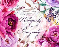 Acuarela peonías de elementos florales de Borgoña y rosas, Boho style, imágenes prediseñadas de invitaciones de boda, flores de color púrpura, los archivos PNG individuales.