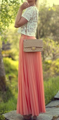 Look of the summer: pleated chiffon maxi skirt paired with a crochet lace top.
