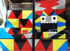 VM A giant monster machine at Louboutin, love the geometric shapes to make up the monster face.